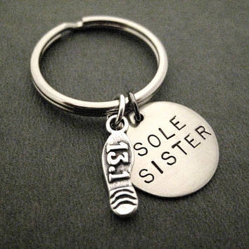 SOLE SISTER with Sterling Silver 13.1 Half Marathon or 26.2 Marathon Shoe Print Charm Key Chain / Bag Tag - Ball Chain or Key Ring