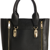 BLACK Double Zip Contrast Tote