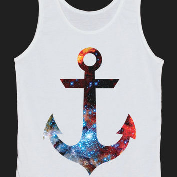 Galaxy Universe Cosmic Anchor Tank Top Women Tops White Tee Shirt Tank Tops Size XS, S, M, L