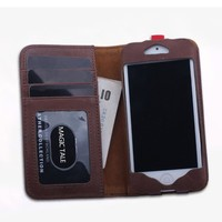 Juice Action Men's Genuine Leather Phone Case Wallet Credit Card Holder for iPhone 6