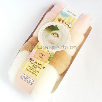 wool only, Baby series pink, flesh tone,  white color wool set, Pastel colors, needle felting wool, diy fun, id1370109 gift for crafter