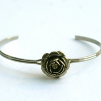 Rose Bangle Silver Tone Flower Cuff Bracelet