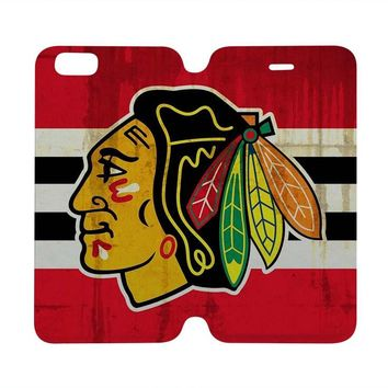 CHICAGO BLACKHAWKS Wallet Case for iPhone 4/4S 5/5S/SE 5C 6/6S Plus Samsung Galaxy S4 S5 S6 Edge Note 3 4 5