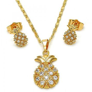 Gold Layered 10.310.0001 Necklace and Earring, Pineapple Design, with White Cubic Zirconia, Polished Finish, Golden Tone