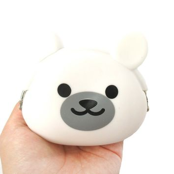 White Polar Teddy Bear Shaped Mimi Pochi Animal Friends Silicone Clasp Coin Purse Pouch