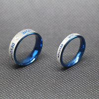 2pcs-blue Ring, promise ring,couple Rings, Lovers rings,Free Engraving