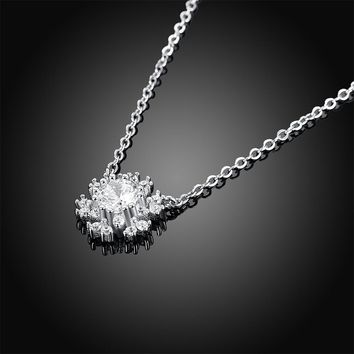 Real Silver 925 Jewelry Snowflake Necklaces Pendant For Women Chain Cubic Zircon Choker Necklace Gifts For Girls Lady