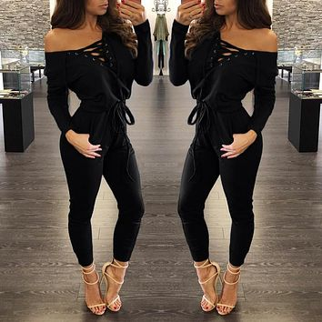 Fashion 2016 Autumn Winter Lace Up Rompers Women Jumpsuit Knitting Grey Red S-XL Bodysuits Pockets Long Sleeve Jumpsuits