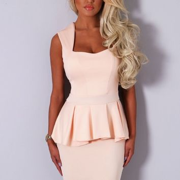 Rania Peach Sleeveless Peplum Midi Dress | Pink Boutique