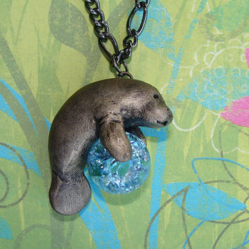 Manatee Sea Cow Necklace Pendant  Rear View Mirror by wcgoods