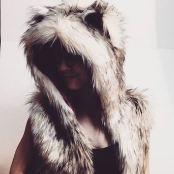 Design your own Women's croped fur hooded vest furry vest festiva hoodie burning man vest fuzzy hoody