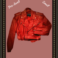 Wilsons leather red jacket  absolutely beautiful size small .