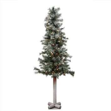 "5' x 28"" Pre-Lit Frosted and Glittered Woodland Alpine Christmas Tree - Clear Lights"