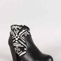 Qupid Two Tone Chunky Heel Bootie Color: Black, Size: 9