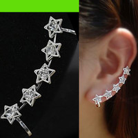 Silver Stars Wrapping Ear Cuff (Single, No Piercing)