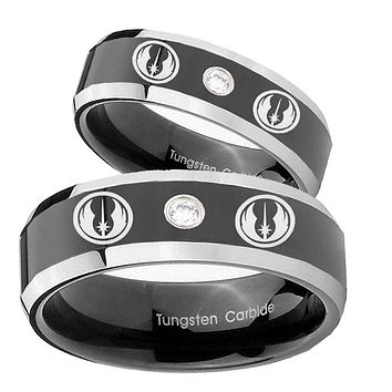 His Hers Star Wars Jedi Beveled Edges Black Tungsten CZ Mens Ring Engraved Set