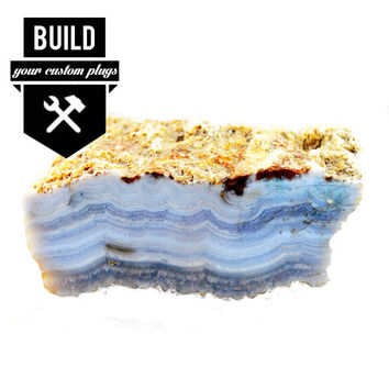 "Build Your Blue Lace Agate Stone Plugs (2g-3"")"
