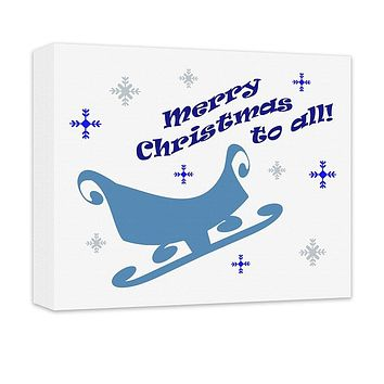 Merry Christmas to All Sleigh Canvas Wall Art