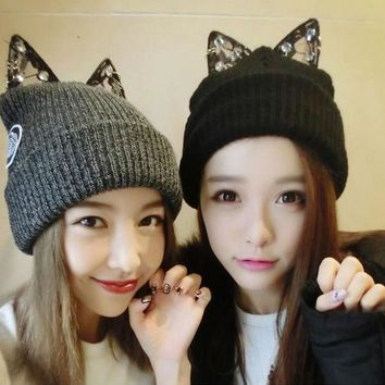 Fashion Winter Lady Knitting Wool Hat Cat Ears Shape Warm Soft And Comfortable Cap For Women Winter Cute Casual Cap Qr410