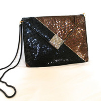 Vintage Mesh Metallic Purse Evening Shoulder Bag Copper Black Retro Handbag Slinky Strap Wedding  Free Shipping