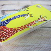 yellow colorful giraffes purple red teal green iPhone by Hot2Own
