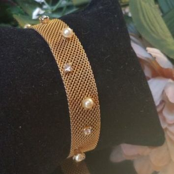 Vintage Signed PIK NY Rhinestone Pearl Mesh Bracelet Victorian Revival Jewelry