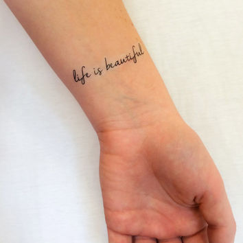 2 Life is Beautiful Temporary Tattoos - SmashTat - Stocking Stuffer