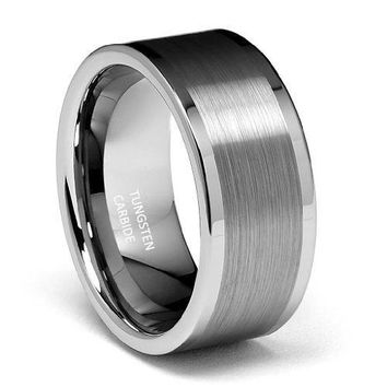 10mm Flat Brushed Tungsten Wedding Band (Platinum)