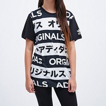 Adidas Typo Tee in Black and White - Urban Outfitters