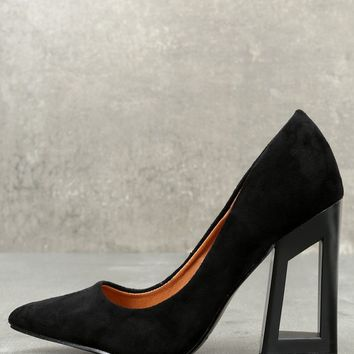 Kehlani Black Suede Geometric Cutout Pumps