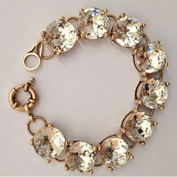 Clear Crystal & Gold Chunky Bracelet