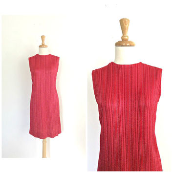 Vintage 70s Disco Dress - red party dress - shift dress - sheath - sleeveless - S M