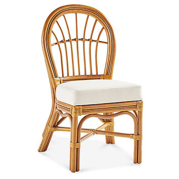 Palm Harbor Rattan Side Chair, Natural/White - South Sea Rattan - Brands | One Kings Lane
