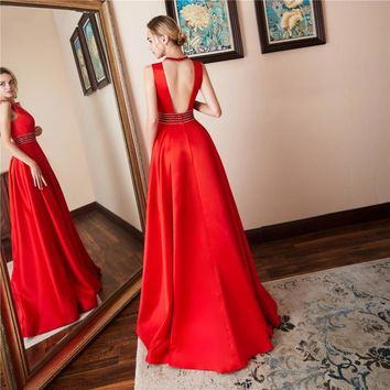 New Arrival Satin O-Neck Backless A Line Long Evening Dresses Illusion Bust Sleeveless Floor Length Evening Dress