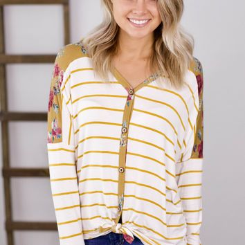 Missing You These Days Hooded Top- Mustard