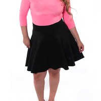 Plus Size Sexy Pink Flared Black Skirt Dress, Plus Size Clothing, Club Wear, Dresses, Tops, Sexy Trendy Plus Size Women Clothes