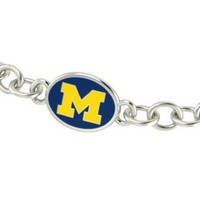 Michigan Wolverines U of M Sterling Silver Jewelry and Enamel Link Bracelet