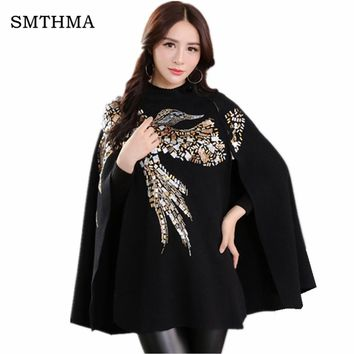SMTHMA HIGH QUALITY Newest Fashion 2017 Runway Designer Sweater Women's Batwing Sleeve Bird Sequined Cape Pullover Sweater