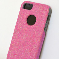 Custom iPhone 5 Glitter Otterbox Commuter Cute Case,  Custom  Glitter Bubble gum / Gray Otterbox Color Cover for iPhone 5