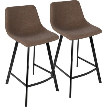 Outlaw Industrial Counter Stools, Brown PU (Set of 2)