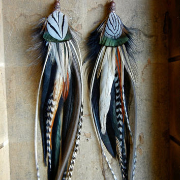 20 Percent OFF the ENTIRE shop - Lightning In a Bottle Extra Long Feather Earrings