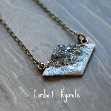 Crushed Crystal Druzy Layered Chevron Necklace - Bronze