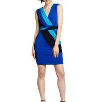 Vince Camuto Women's Colorblock Grecian Dress, Blue Night, 12