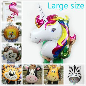 10pcs/lot large animal head Foil Balloon flamingo inflatable helium ballon birthday/jungle party supplies kids unicorn globos