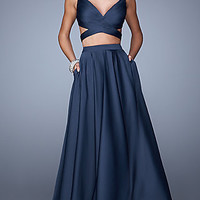 Two Piece V-neck La Femme Dress