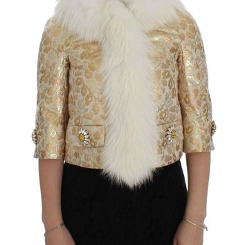 Gold Brocade Crystal Fur Coat Jacket