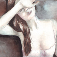 Original watercolor Sensual Woman illustration painting art