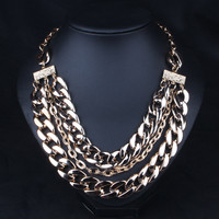 Jewelry New Arrival Shiny Gift Stylish Punk Gold Chain Club Accessory Necklace [6057618049]