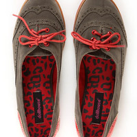 Dollhouse Spiffy Taupe and Red Two-Tone Brogue Oxfords - $33.00