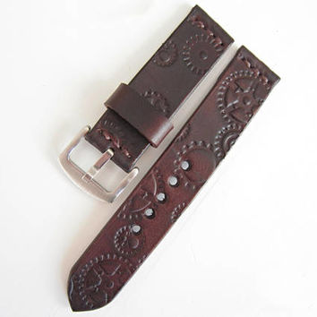 Steampunk Watch Strap, Brown Leather Strap 22mm